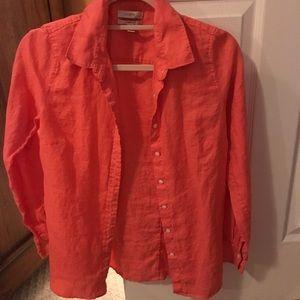 J crew coral perfect fit linen shirt